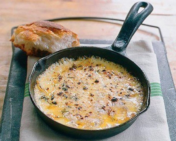 Baked Fontina with Garlic, OPHELLIA Olive Oil, and Thyme